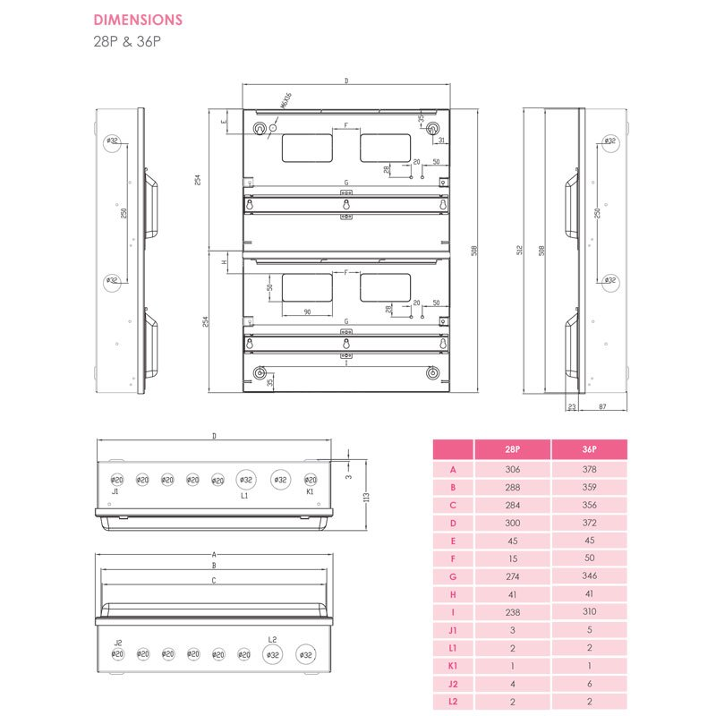 Double row consumer unit drawing
