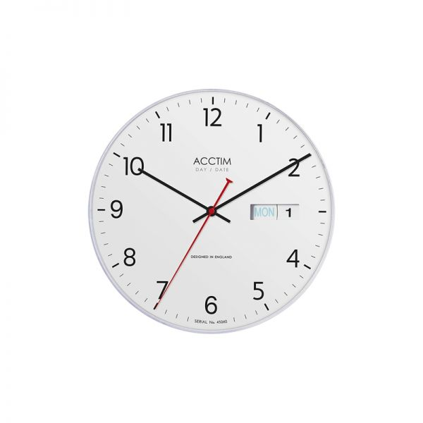Acctim Date Time 280mm Wall Clock White