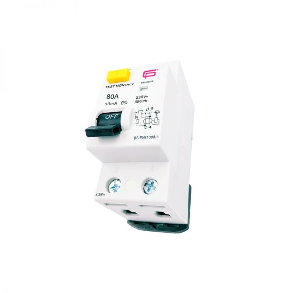FuseBox 80A 100mA Double Pole AC Type RCD