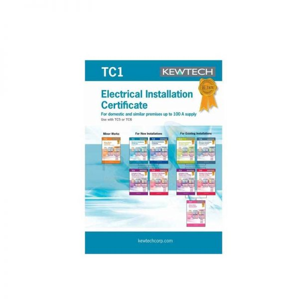 Kewtech TC1 42pgs Electrical Test & Installation Certificate