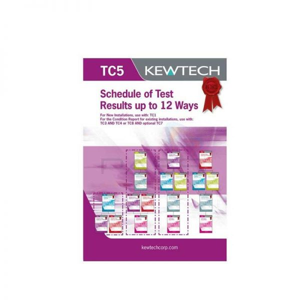Kewtech TC5 Schedule of Test Results Upto 12 Ways
