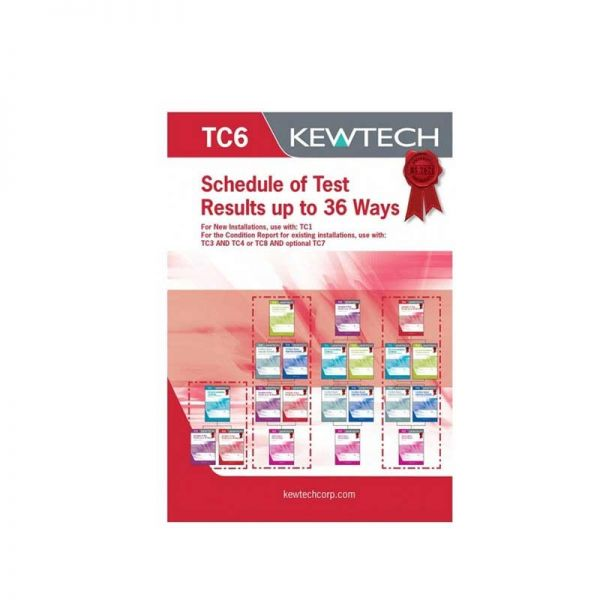 Kewtech TC6 Schedule of Test Results Upto 36 Ways