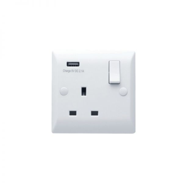 Hamilton Vogue 1G 13A DP Switched Socket With USB Power Outlet